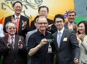 Photos 3-5: Mr James Shing, Executive Director and Ms Nancy Wu, CEO of ATV, present the ATV Cup trophy to owner Julian Hui Chun Hang, trainer John Moore and jockey Jeffrey Lloyd of the winning horse Yummy Spirits.